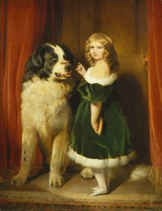 Princess Mary of Cambridge with Nelson, a Newfoundland dog, 1839.
